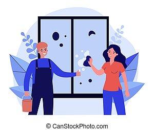妇女, 窗口洗涤