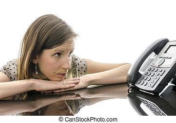 妇女, 等待, 电话, 看, 电话, 当时, 电话