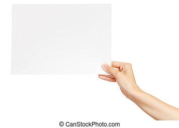妇女, 纸卡片, 背景, 隔离, 手, 白色