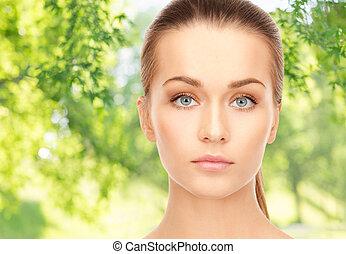 妇女, 结束, 美丽的脸, 背景