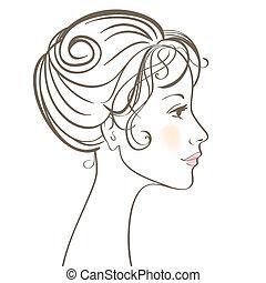 妇女, 美丽, 脸