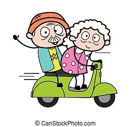 妇女, 老, 小摩托车, -, 描述, 矢量, 祖母, 旅行, 卡通漫画
