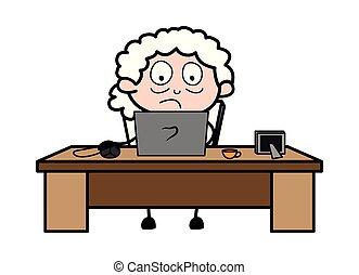 妇女, 老, 工作, 笔记本电脑, -, 描述, 矢量, 祖母, 卡通漫画