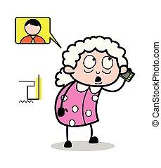 妇女, 老, -, 描述, 谈话, 矢量, 电话, 祖母, 卡通漫画