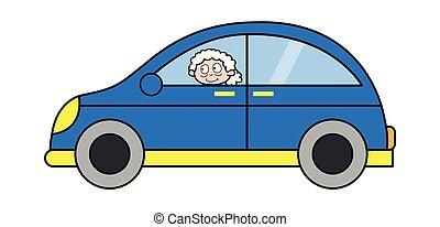 妇女, 老, 汽车, -, 描述, 矢量, 祖母, 旅行, 卡通漫画