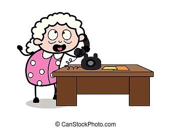 妇女, 老, -, 电话, 描述, 谈话, 矢量, 祖母, 卡通漫画