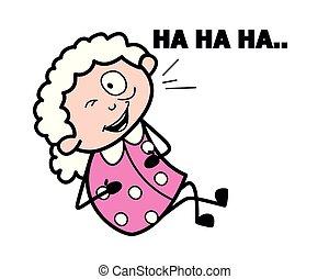 妇女, 老, 笑话, -, 描述, 矢量, 笑, 祖母, 卡通漫画