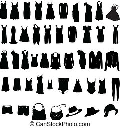 妇女, 衣服, 各种各样, silho