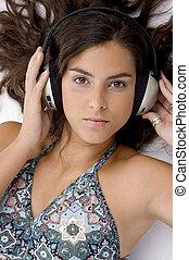 妇女, 角度, 放置, 隔离, headphone, 高, 背景, 察看