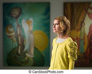 妇女, 访问, 美术馆