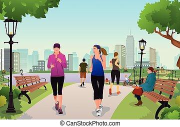 妇女, 跑, 在中, a, 公园