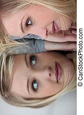妇女, 镜子, 反映, 脸