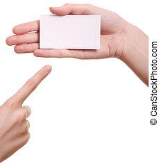 妇女, 隔离, 手, 纸, 背景, 白色, 卡片