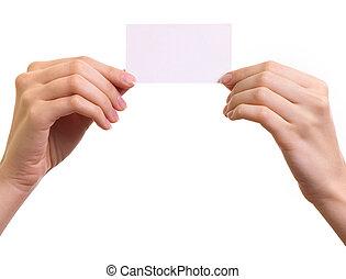 妇女, 隔离, 纸, 背景, 手, 白色, 卡片