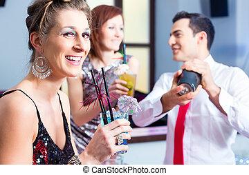 妇女, 鸡尾酒, 喝, 酒吧, 鸡尾酒