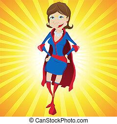 妇女, 黄色, 背景。, 妈妈, 超级, 卡通漫画