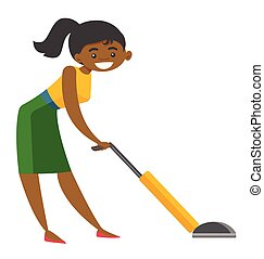 妇女, african, 年轻, cleaner., 打扫, 真空