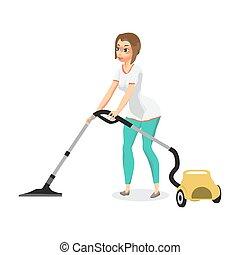 妇女, doin, 年轻, 家庭主妇, cleaner., 真空, 真空, 家