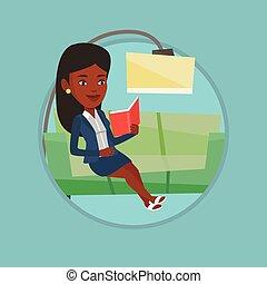 妇女, illustration., 沙发, 矢量, 读书