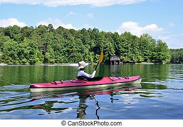 妇女, kayaking