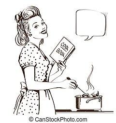 妇女, room., retro, 汤, 年轻, 描述, 隔离, 矢量, 图表, 烹调, 厨房, 她, 白色