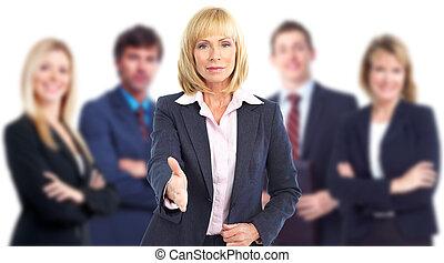 妇女, teamwork., handshake., 商业