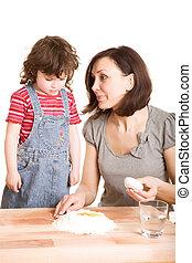 妈妈, 做, 女儿, 生面, 厨房