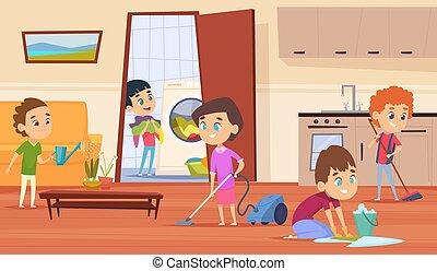 妈妈, 做, 家务劳动, 父亲, 性格, 孩子, 家庭, 洗涤, brooming, 矢量, 夫妇, 地板, 家具, parents., 房子清洁