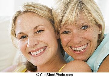 妈妈, 同时,, 长大, 女儿, 微笑