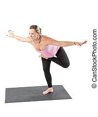 妊娠した, フィットネス, 女, 作りなさい, 伸張, 上に, ヨガ, そして, pilates, ポーズを取りなさい, 白, 背景, ∥, 概念, の, スポーツ, そして, 健康