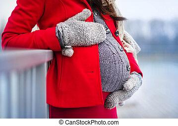 妊娠した, 冬, 腹
