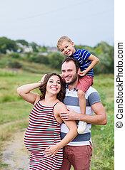 妊娠した, 息子, 父, 母, family:, 幸せ