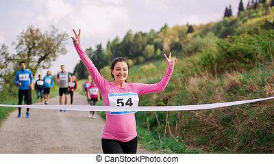 妊娠した, 競争, 交差, 終わり, ランナー, nature., 線, レース, 女