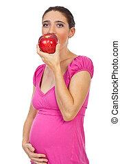 妊娠した, 食べること, 赤いリンゴ