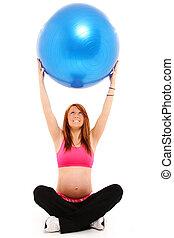 妊娠, そして, フィットネス, ヨガ, ボール
