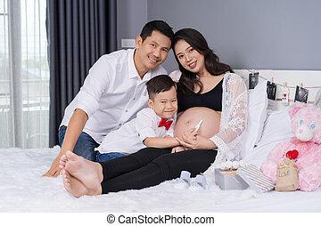妊娠, 妊娠した, 幸せ, 息子, 父, 概念, 家族, テスト, ベッド, 母