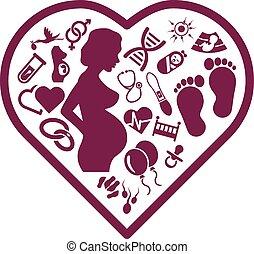 妊娠, 心, アイコン