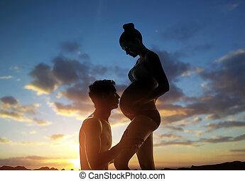 妊婦, そして, 彼女, 夫