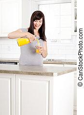 妊婦, たたきつけるオレンジジュース