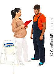 妊婦, 逆, ∥で∥, 労働者