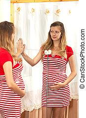 ∥, 妊婦, 顔つき, 中に, a, 鏡