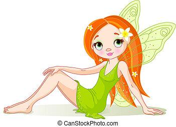妖精, かわいい, 緑