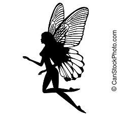 妖精, シルエット, 隔離された