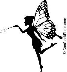妖精, 彼女, 細い棒, 振ること