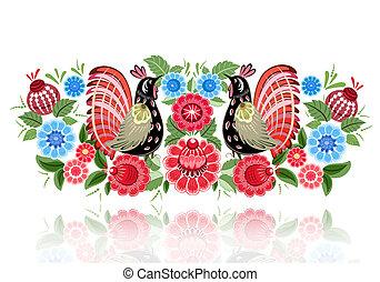 妖精, 花, 鳥