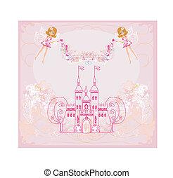妖精, 飛行, 城, の上