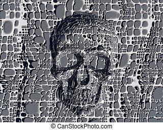 妨げられる, skull.