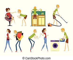 妻子, 放置, 家庭, 图解, 矢量, 控制, 背景, henpecked, househusband, 白色, 卡通漫画, 丈夫, 人