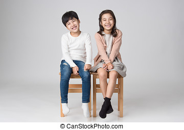 姉妹, アジア人, 若い, 兄弟