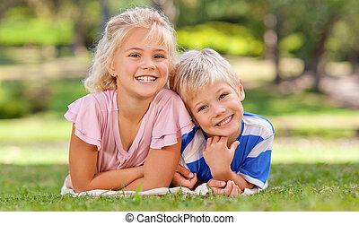 姉妹, 公園, 彼の, 男の子